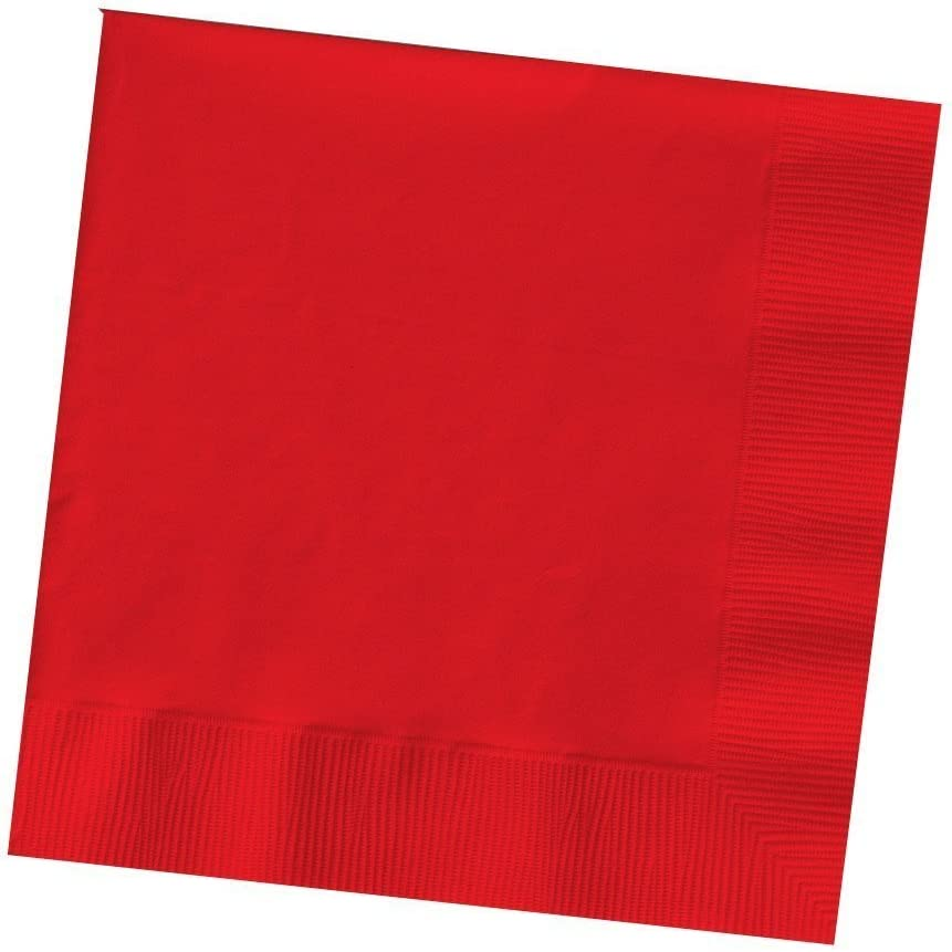 Creative Converting 600-Count Touch of Color Paper Beverage Napkins, Classic Red (Value Pack)