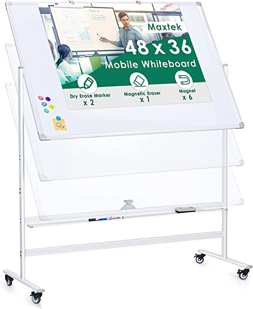 Large Mobile Whiteboard Height Adjustable, maxtek 48 x 36 inches Magnetic Double Sided Rolling Dry Erase Board