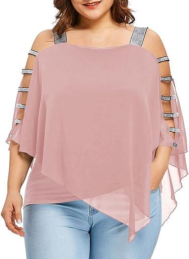 CICIYONER Blusa Mujer Talla Grande, Camiseta Hombros Descubiertos Camisetas Tallas Grandes Mujer (Rosa, 52(Etiqueta 5XL)): Amazon.es: Ropa y accesorios