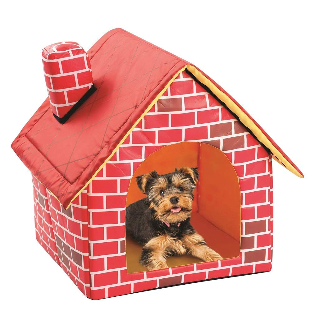 Soft Indoor Pet Dog House Room, Kennel Cat Cave, Portable Pet Bed for Dogs and Cats, Brick Wall Style, Pink, 47 ×47× 46 cm