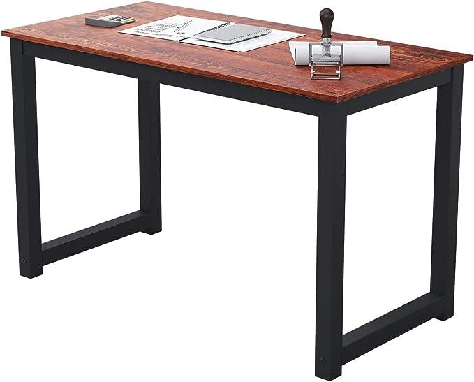 "FSTAR 47"" Home Office Desk, Modern Simple Design Sturdy Computer Desk Writing Table for Home Office Large Space Workstation, Sandalwood, Metal Frame (47"", Sandalwood)   Amazon"