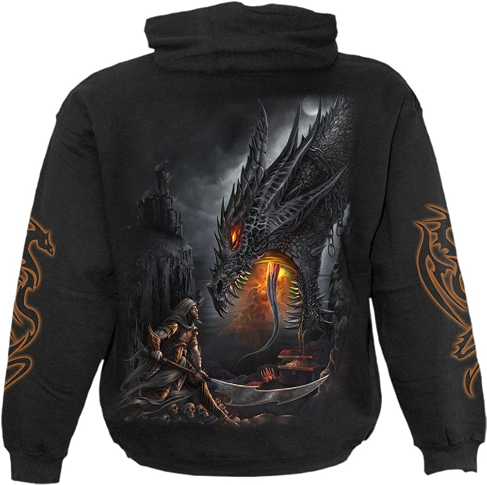 Dragon Slayer Spiral Mens Hoody Black