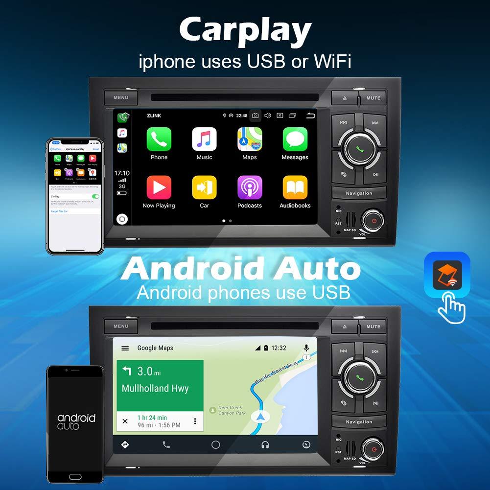 Ohok 7 Pulgadas 2 DIN Autoradio Android 9.0 PIE Octa Core 4G+32GB ROM Reproductor DVD//GPS Navegador Soporta Bluetooth//WiFi//Dab para Audi A4 2002-2008 con Camara