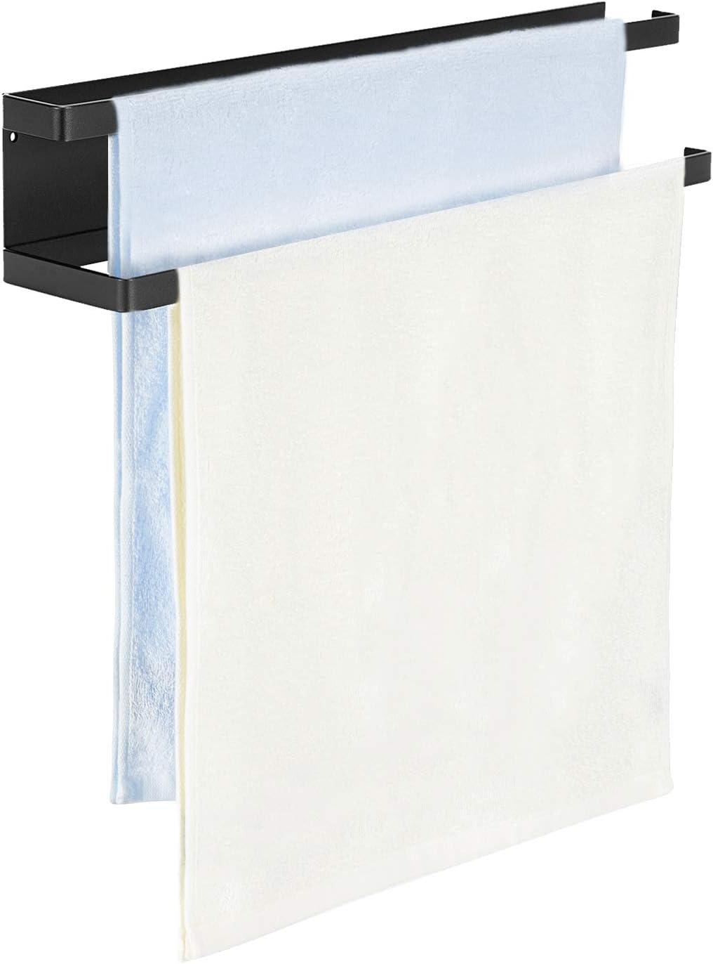 Pittaigo Magnetic Towel Bar for Refrigerator, Kitchen Towel Holder Dish Towel Hanger 15.7'' for Hand Tea Towels, for Kitchen Stove, Oven, Dishwasher, Sink, Laundry Washing Machine, No Drilling, Black