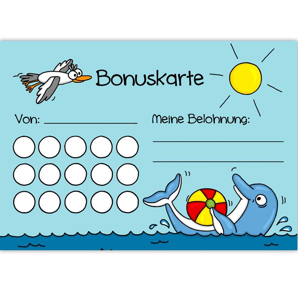 5x Bonuskarten Delfin DIN A6 Bonuskarte Belohnungssystem Kinder für Jungen Mädchen Punkte sammeln Belohnungstafel Fleißkärtchen Fleißkarte Töpfchentraining Hausaufgaben Hausarbeit Haushalt Stempelkarte Punktekarte Mausmimi