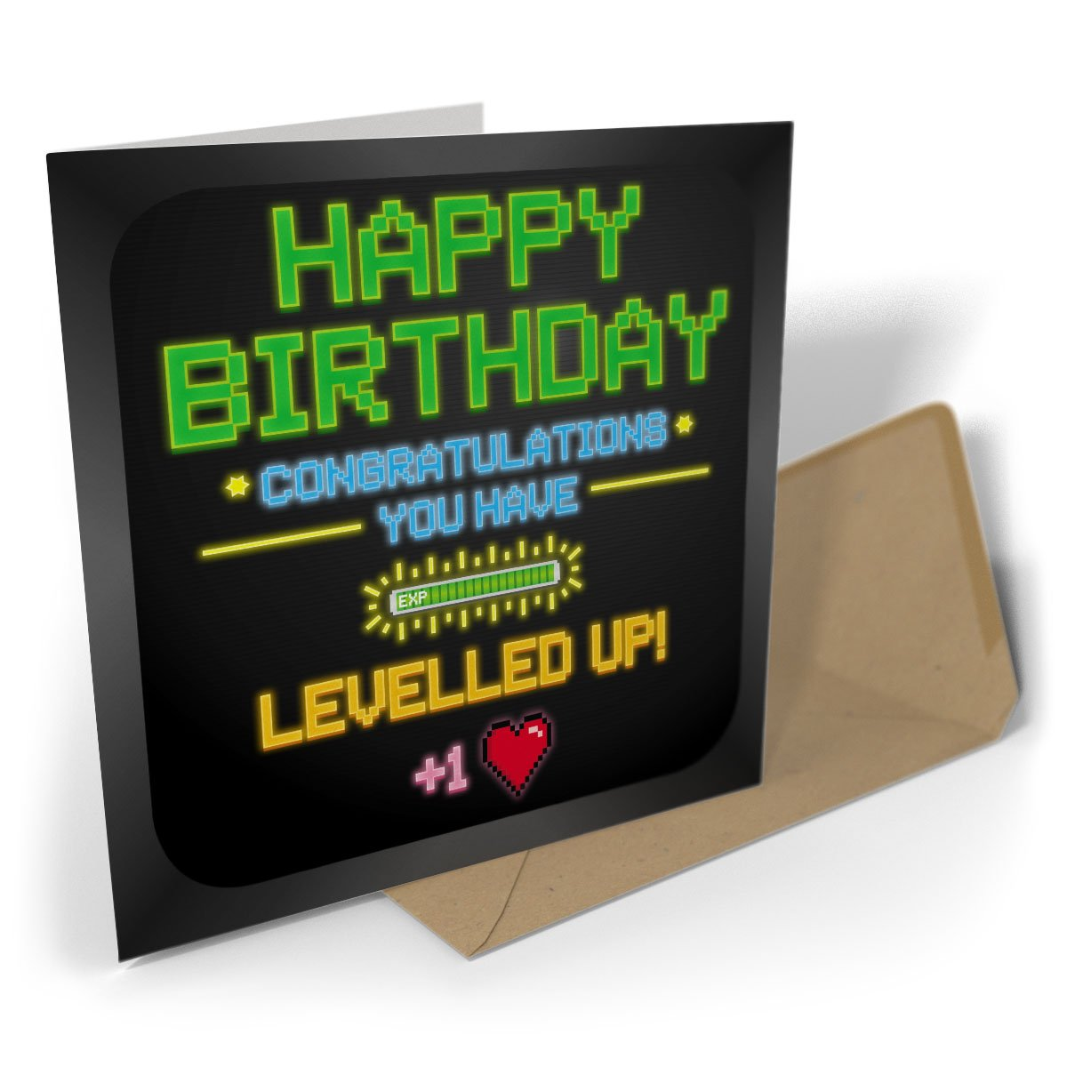 Greetings Card: Happy Birthday Congratulations You Have Levelled Up! Black Raven Design