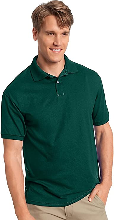 Hanes Cotton-Blend Jersey Men's Polo, Deep Forest, L