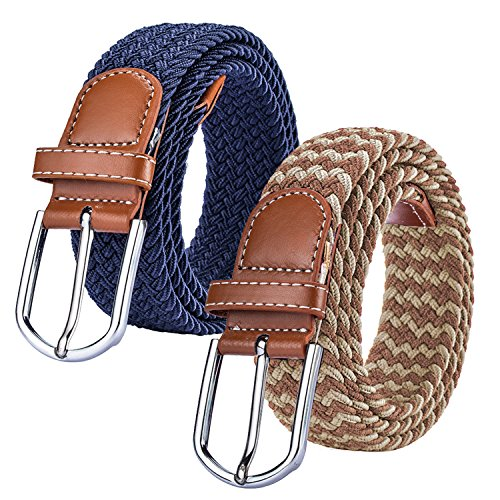 2 Pack Braided Canvas Belts Womens Woven Elastic Stretch Fabric Multicolored Belt (Ladies Canvas Belts)