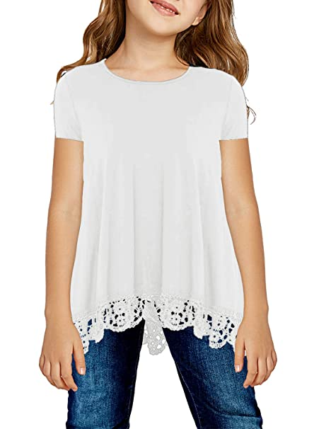 cf4f10110c26c Amazon.com  Bulawoo Girls Casual Short Sleeve Tops Blouse Solid Color Cute  T Shirts High Low Hem Birthday Shirt Fashion Outfits Size 6-7 White   Clothing