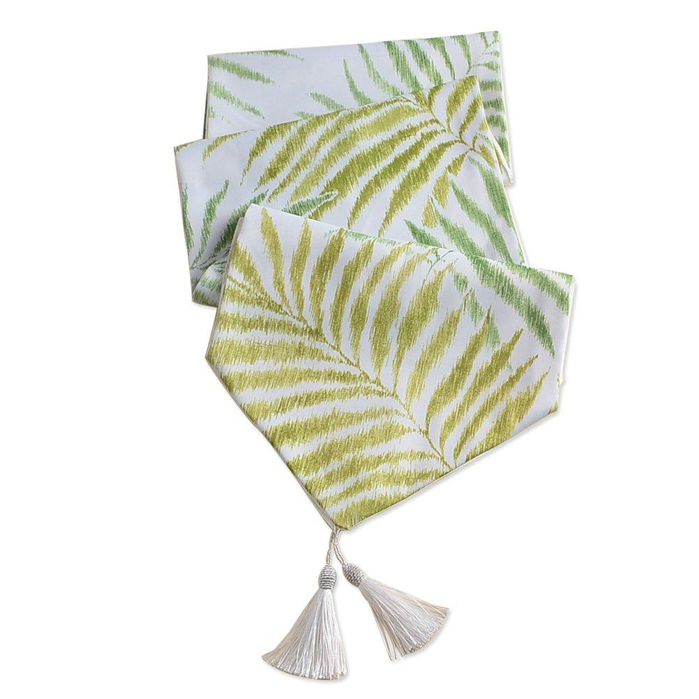 エレガントなポリエステルLeavesテーブルランナーlivebycare家の装飾コーヒーテーブルポリエステルブルーテーブルランナー 13x120 IN グリーン LC_QC_zq-10-lvse-33300 13x120 IN Leaves Green B0725DK8L7