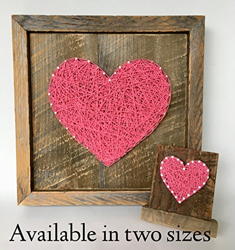 Large framed Hot pink string art heart reclaimed wood sign. A unique gift for Weddings, Anniversaries, Birthdays, Valentine's Day, Christmas, new baby girl. house warming and just because gift.
