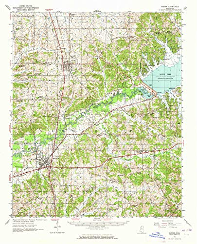 - YellowMaps Sardis MS topo map, 1:62500 Scale, 15 X 15 Minute, Historical, 1952, Updated 1965, 20.9 x 16.9 in - Paper