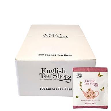 English Tea Shop Organic White Tea - Catering Box - 100 Sachet Tea Bags  Individually Wrapped - 1 5gx 100