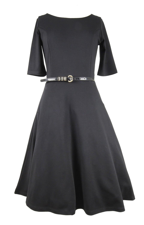Modeway Women 1950s Retro Knit Slim Party Cocktail Vintage Dresses(S,Black) N1-1