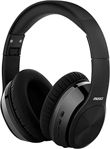 MUSEZ M3 Bluetooth 5.0 HeadphonesOver Ear, Hi-Fi Stereo Wireless Headset, Foldable, Soft Memory-Protein Earmuffs, w Built-in Mic Wired Mode, for Travel Work, Free Protective case Black