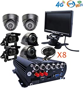 JOINLGO 8 Channel GPS WiFi 4G 1080N AHD HDD Mobile Vehicle Car DVR MDVR Video Recorder Kit Real-time Monitor on PC Phone with 6 2.0MP Dome Side Rear Back View IR Car Cameras 7 inches Car Monitor