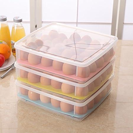 SUDOOK Estuche organizador para huevos de cocina, con tapa, 30 rejillas, contenedor de huevos: Amazon.es: Hogar