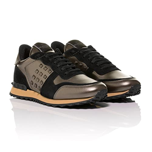 Valentino - Zapatillas de Cuero para Hombre Negro Marrón, Color Negro, Talla 41 EU: Amazon.es: Zapatos y complementos
