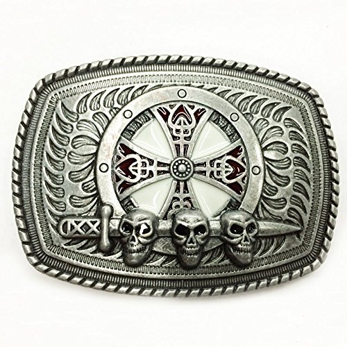 Belt Buckle Retro Three Skull Head Sword Iron Cross Shield Mens