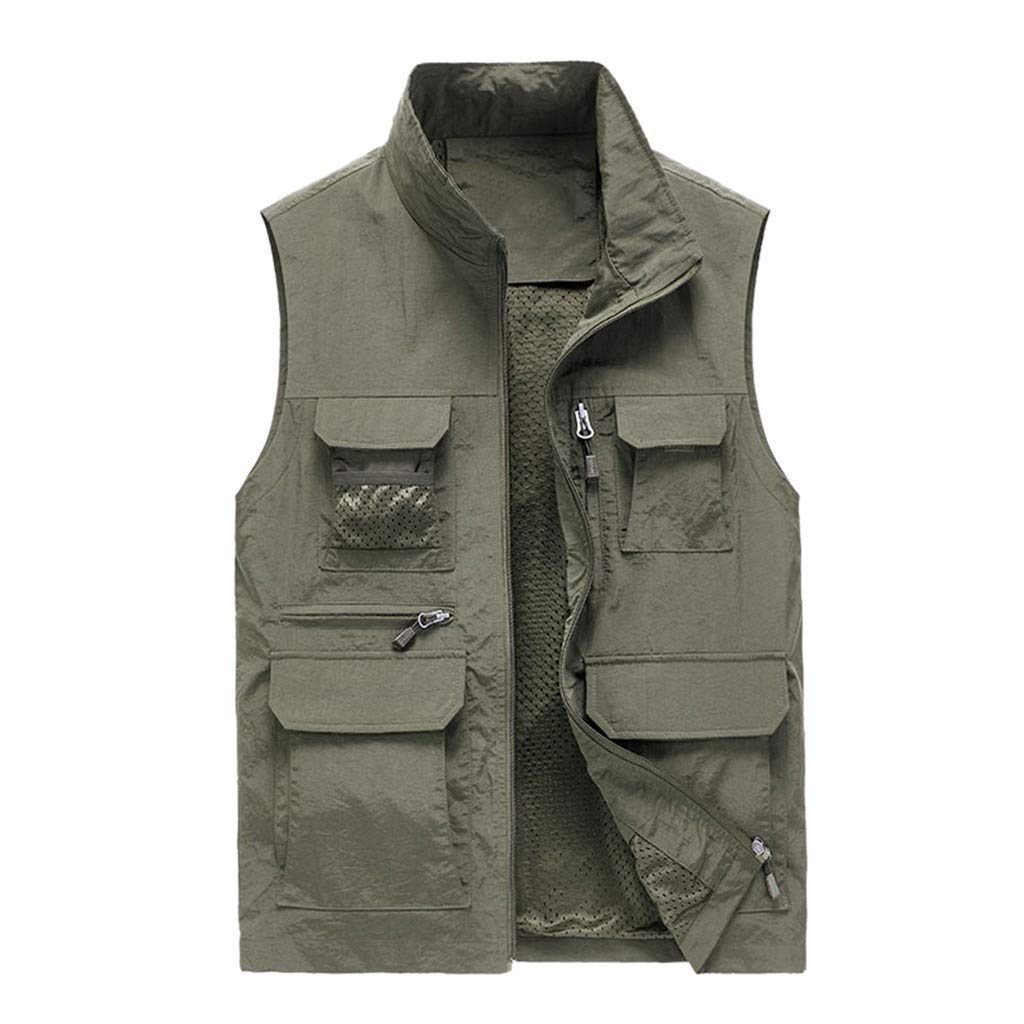 Mens Puffer Vest, Mens Big&Tall Lightweight Water-Resistant Packable Golf Lightweight Photo Vest Fish Travel Safari Vest Khaki by F_Gotal Mens blazer