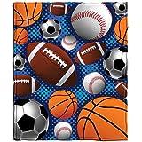 Sports Super Fan Baseball Basketball Football Soccer Fleece Throw Blanket