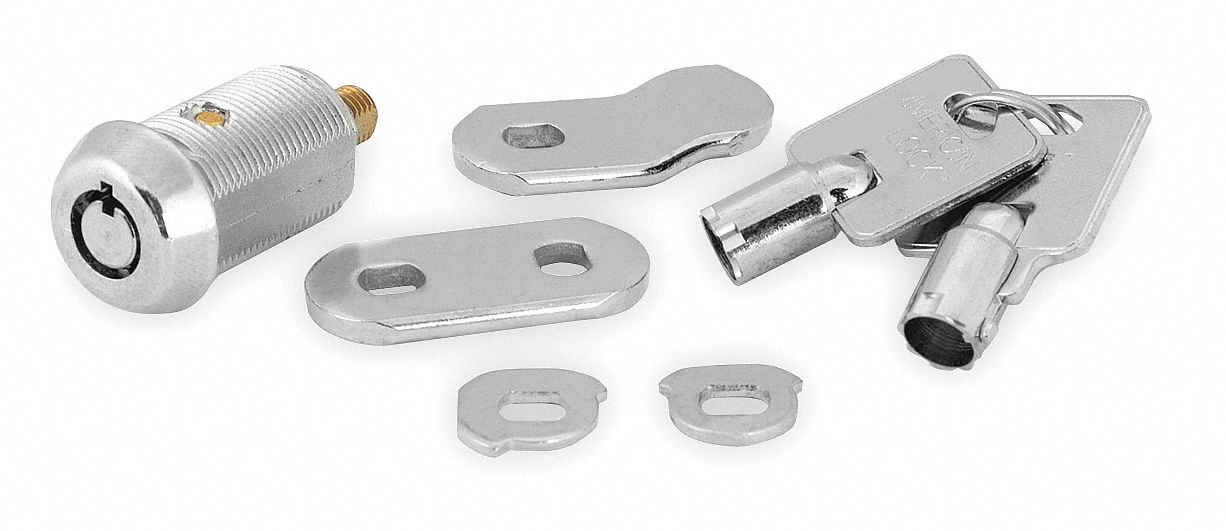 Alike-Keyed Standard Keyed Cam Lock Key # 15546, For Door Thickness (In.): 13/16, Bright Nickel