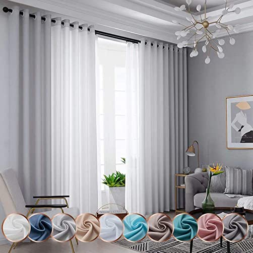 Leadtimes Velvety Soft Semi Sheer Curtains 102 Inches Long Not See-Through Light Filtering Voile Window Treatment