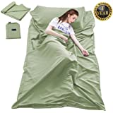 Sleeping Bag Liner Travel Camping Sheet Lightweight Hotel Sheet Compact Sleep Bag Sack Lightweight Breathable Liners…