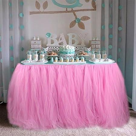 Kicode Mantel de bricolaje Hilo Tul Falda de mesa Cumpleaños de la ...