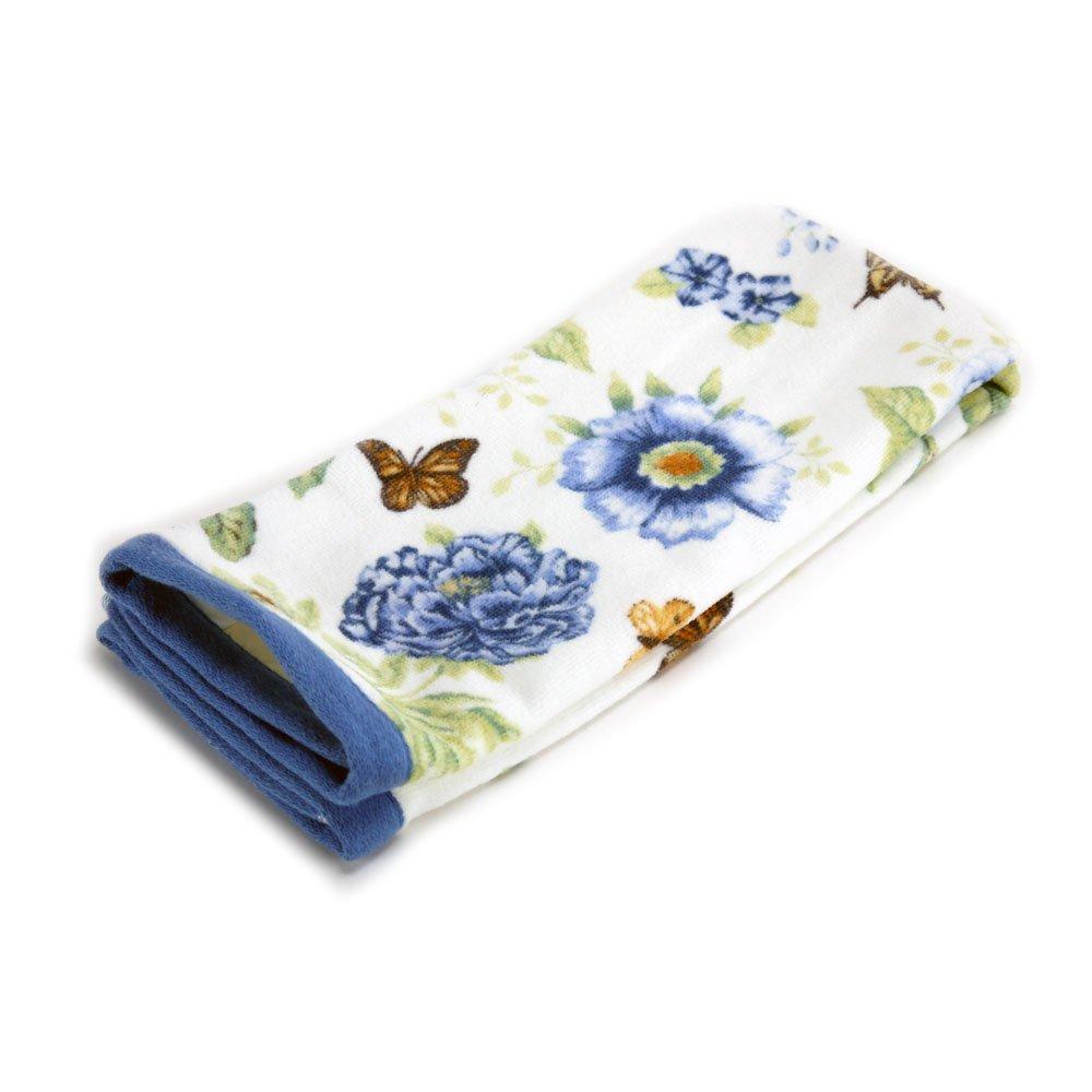 Lenox Printed Bath Towel, Blue Floral Garden Bardwil Linens 47596289860