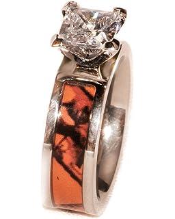 Attractive Orange Camouflage Engagement Wedding Ring   1 Year Warranty