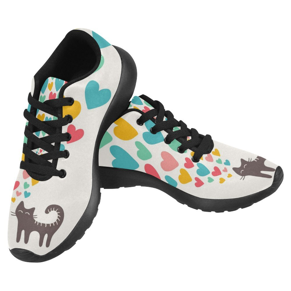 InterestPrint Women's Jogging Running Sneaker Lightweight Go Easy Walking Casual Comfort Running Shoes Size 11 Cute Cat in Love