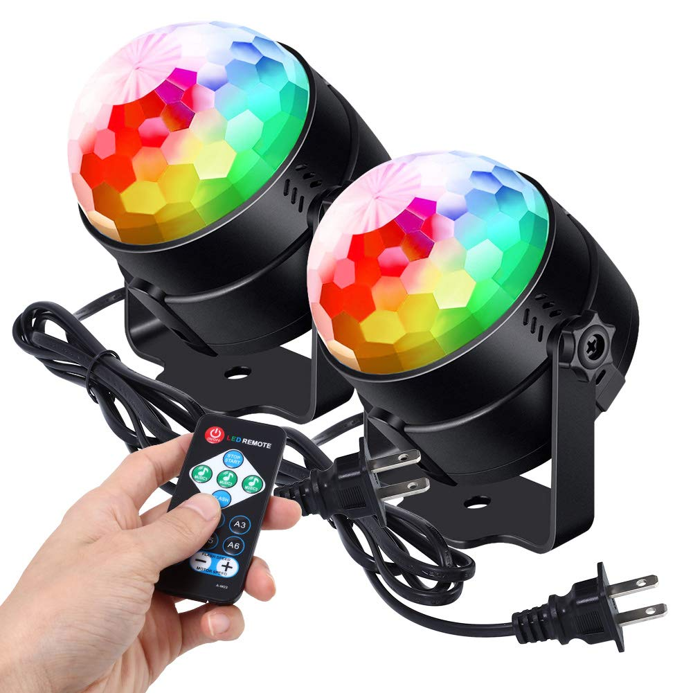 [2019 Latest 6-Color LEDs] Litake Party Lights Disco Ball Lights Strobe Light, 7 Patterns Sound Activated with Remote Control Dj Lights Stage Light for Party Bar Club Festival Wedding Show Home-2 Pack