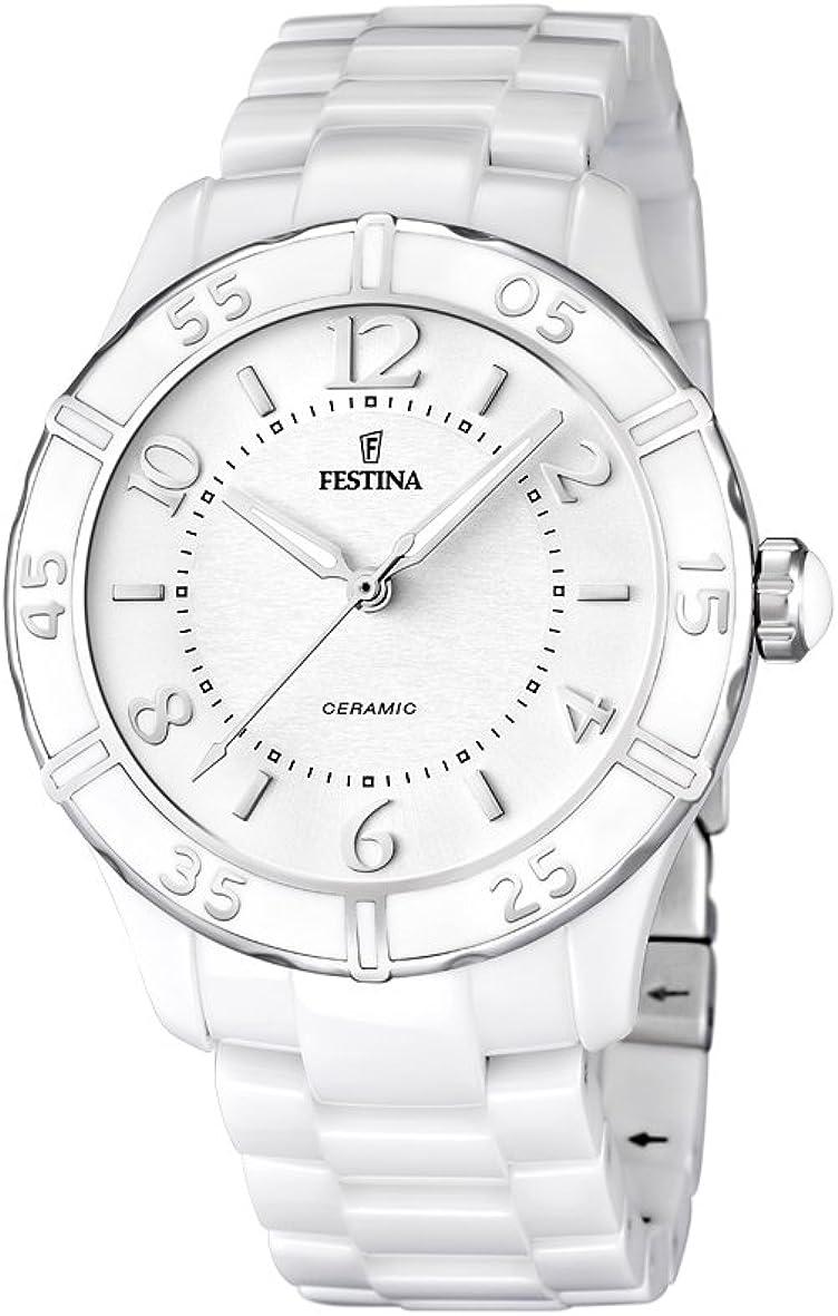 Festina F16621/1 - Reloj analógico de Cuarzo para Mujer con Correa de cerámica, Color Blanco