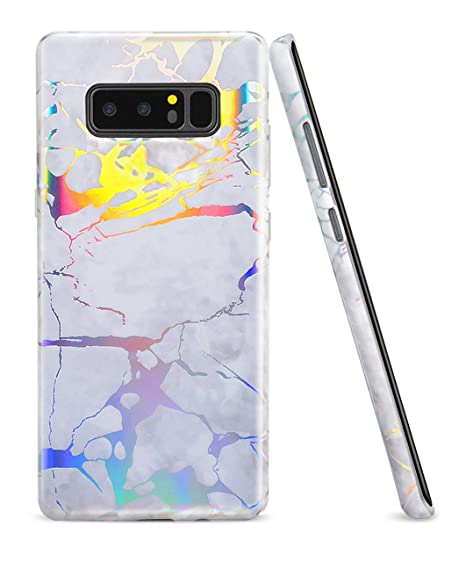 outlet store b190b 01b9f Samsung Galaxy Note 8 Case, WORLDMOM Shiny Change Color Holographic Flash  Map Marble Shock Absorption Technology Bumper Soft TPU Cover Case for ...