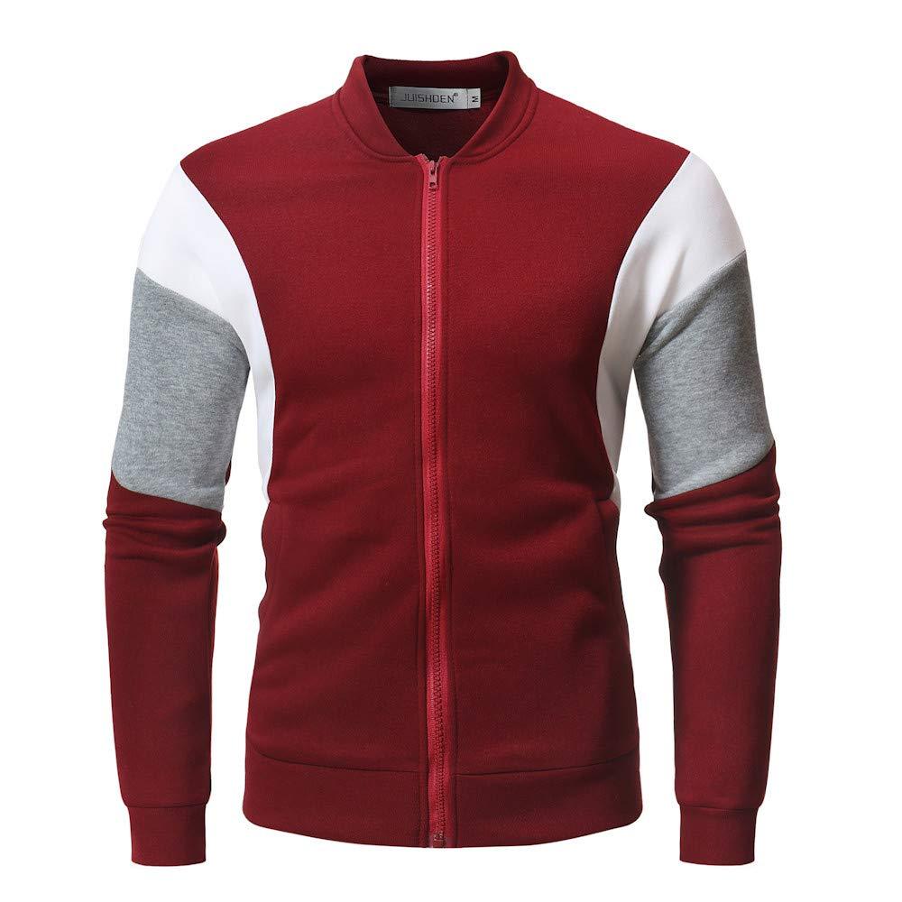 Belloc Men Autumn Winter Mixed Color Stripe Zipper Loose Coat Sweatershirt Coat