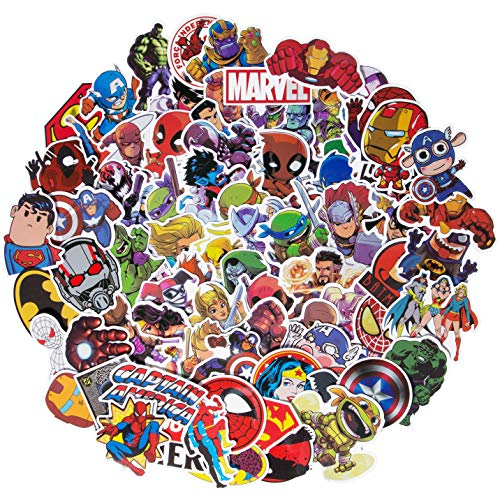 Roberly Superheros Laptop Stickers, 100 Pack Waterproof Vinyl Stickers Water Bottles Computer Stickers Cars Skateboard Luggage Phone Ipad Graffiti Decals for Children,Teen