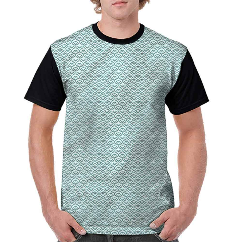 Round Neck T-Shirt,Eastern Ocean Inspired Fashion Personality Customization