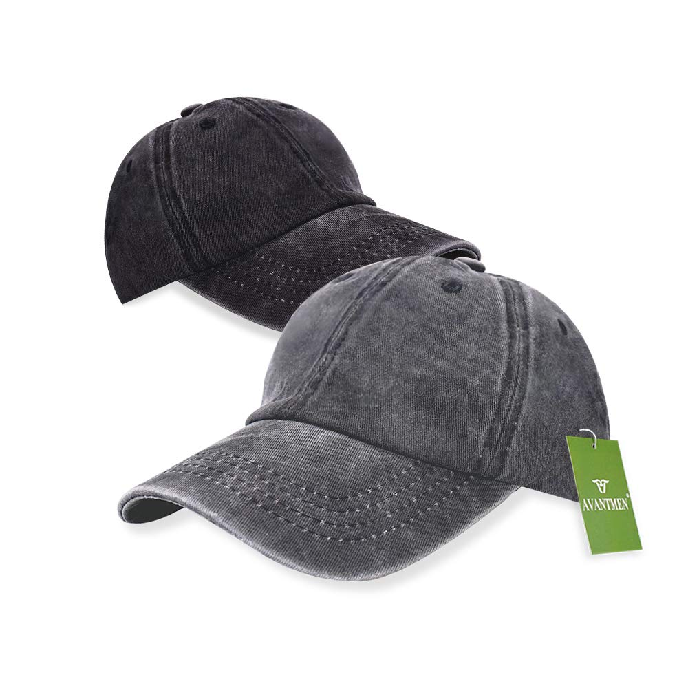 AVANTMEN Kids Baseball Cap Distressed Washed Sunhat Toddlers Little Boys Girls 100% Cotton 2-7 Years (2 Pack Black/Grey)