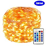 FULLBELL 165 Feet 500 LED String Lights Copper Wire LED Lights Dimmable with Remote Control, Waterproof Fairy Lights Outdoor for Patio, Lawn, Garden, Indoor and Outdoor Decorations (Warm White)