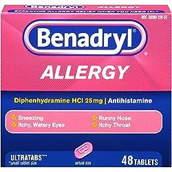 Benadryl Ultratab Antihistamine Allergy Medicine Tablets, 48 Count