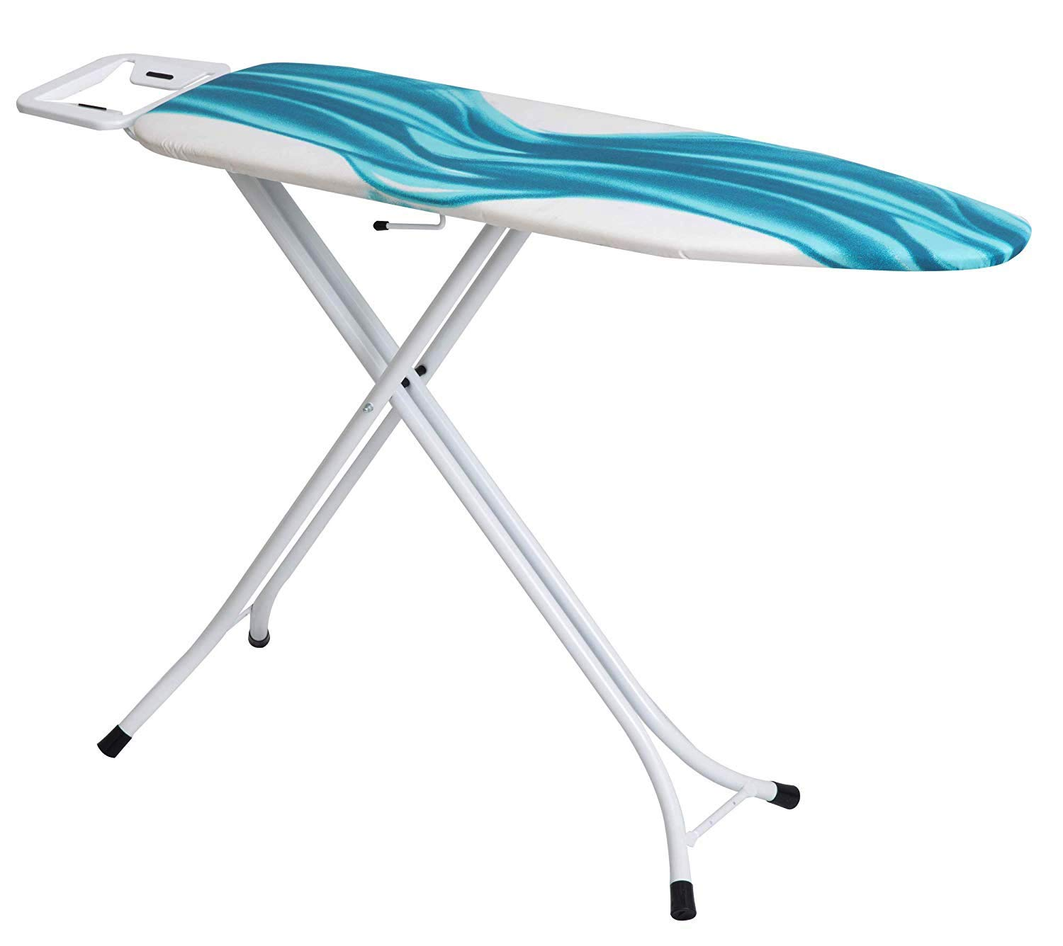 Mabel Home Ironing Board, Adjustable Height, Deluxe, 4-Leg + Extra Cover, Blue & White Patterned by Mabel Home
