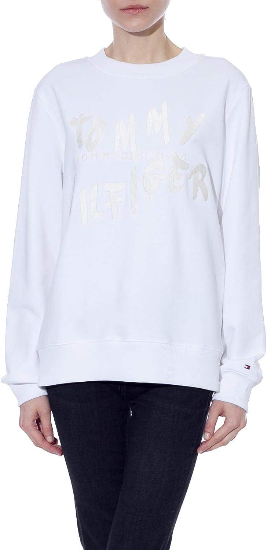 Tommy Hilfiger – Sudadera de mujer blanca con logotipo bordado: Amazon.es: Ropa y accesorios