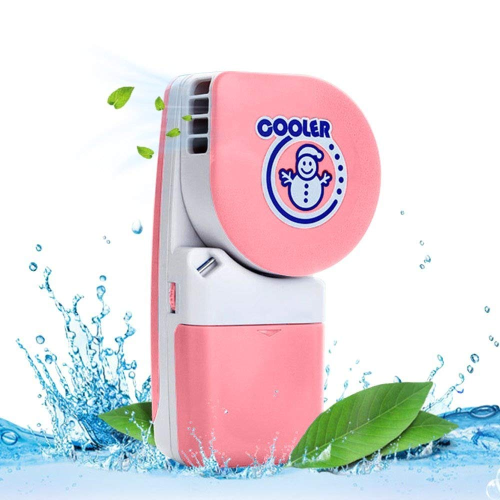 LUCKSTAR Handheld Cooler Fan - Small Fan Mini-Air Conditioner Speed Adjustable Summer Cooler Fan With Water Bottle Powered by Batteries or USB Cable for Home / Office / Travel / Outdoor (Pink)