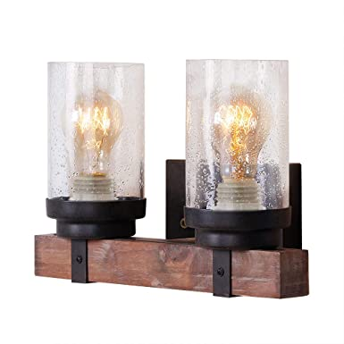 Anmytek Wall Lamp Wooden Wall Light Wall Sconce Fixture with Bubble Glass Shade (Two Lights) - - Amazon.com