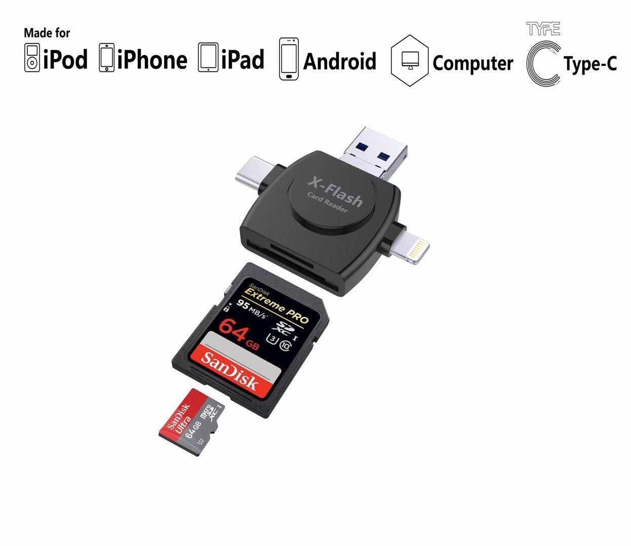 Lector Tarjeta Memoria Micro SD/TF 4 en 1 para teléfono Android ...