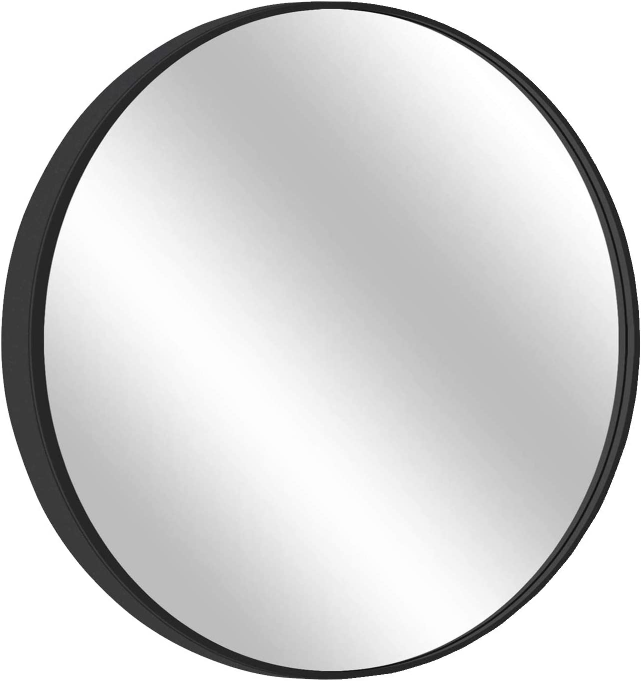 Round Framed Wall Hanging Mirror: Vanity Mirror Large Circle Metal Mirror for Decorative Wall Art (Black, 32inch)