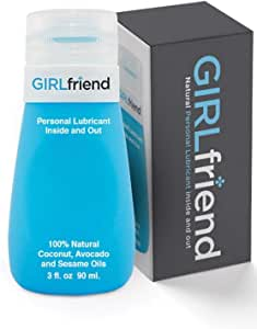 Girlfriend All Natural Personal Lubricant   Delicious Tasting Best Vegan Edible Sex lube for Couples, Women, Men   Made in USA   Patented 3 oz No Drip Bottle Flip Top Cap