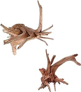 Hamiledyi Driftwood for Aquarium Reptile Branches Wood Natural Trunk Driftwood Tree Aquarium,Fish Tank Plant Stump Ornament Decor 2 PCS