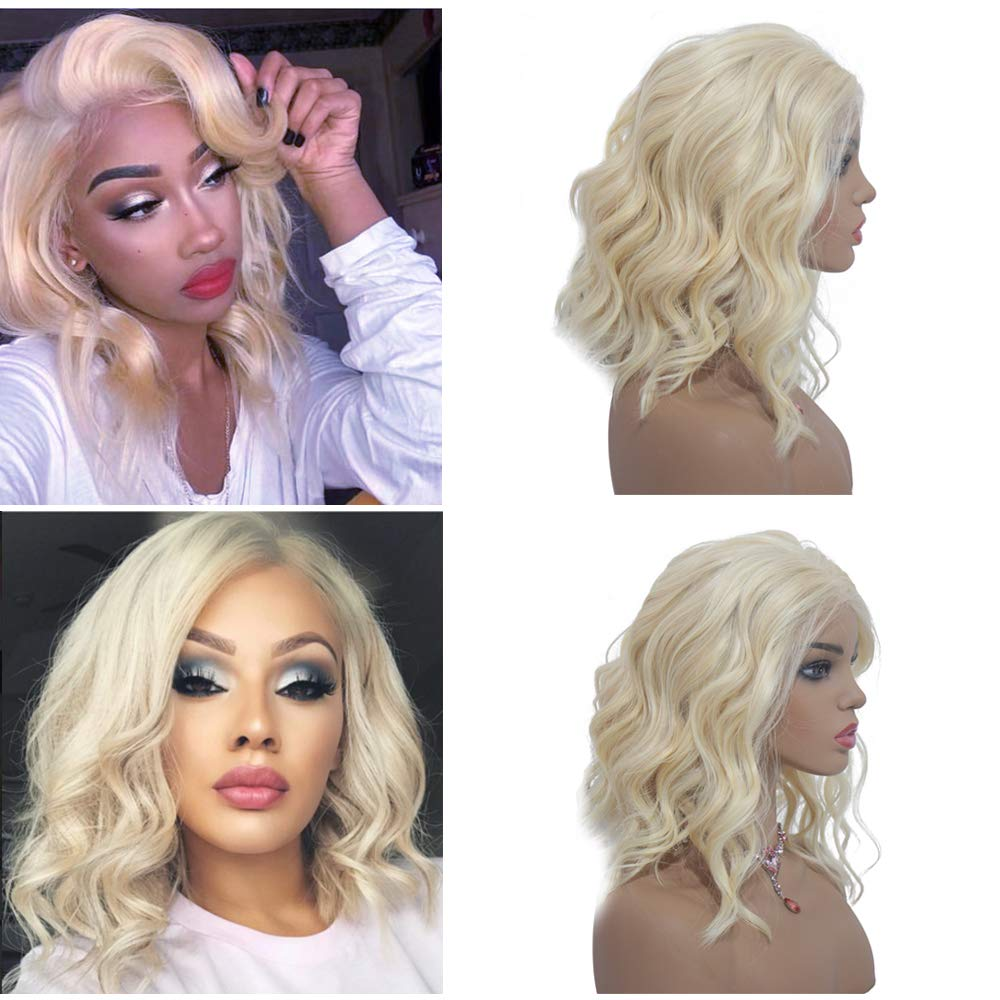 Amazon Com 613 Blonde Human Hair Wigs 8 Short Body Wavy 13x4 Lace Front Pre Plucked With Baby Hair 180 Density Glueless Brazilian Hair Middle Part Remy Hair Bob Wigs For Black
